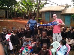 Darren with the kids in Kenya
